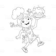 coloring page outline of cartoon boy chef with cake stock vector