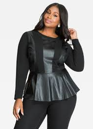 leather blouse buy sleeve faux leather knit top black tops