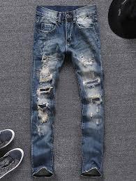 Ripped Denim Jeans For Men P U0026v Men Skinny Fit Destroyed Ripped Bars Jeans Black Skinny