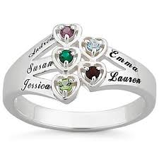 heart ring personalized sterling silver or 18k gold silver family heart
