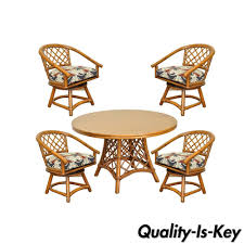Table Ls Sets Vtg Ficks Reed Mid Century Modern Rattan Bamboo Dining Set