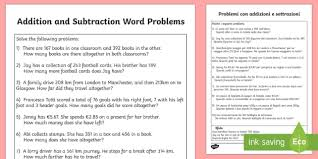 addition and subtraction word problems activity sheet