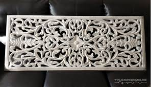sumptuous white wood wall decor with thai carving hanging or