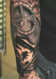 sleeve ideas on palm tree tattoos clock tattoos and