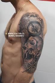100 awesome compass tattoo designs skull sleeve tattoos skull