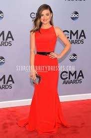 lucy hale cma 2014 long red open back evening prom dress