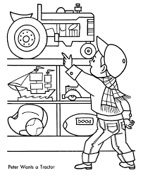 tractor color pages kids coloring