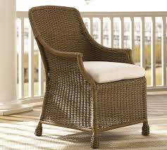 Leather Dining Armchair Saybrook All Weather Wicker Dining Armchair Pottery Barn
