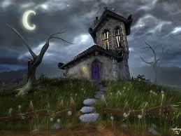 wallpaper night house moon