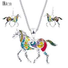 jewelry necklace earring sets images Horse jewelry sets high quality silver plated multicolor horse jpg