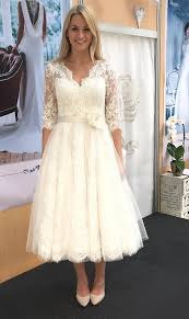 50s wedding dresses fifties length wedding dress with tulle circle skirt and lace