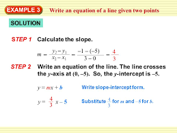write an equation of a line given two points y mx b y x