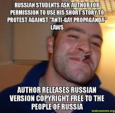 Anti Gay Meme - russian students ask author for permission to use his short story