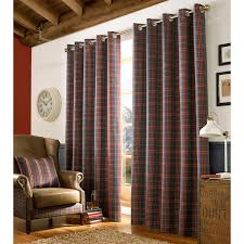 Curtain Pair Archie Fully Lined Eyelet Curtains Woven Tartan Check Denim Blue