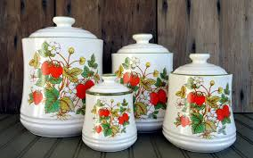 vintage strawberry kitchen canisters containers strawberry