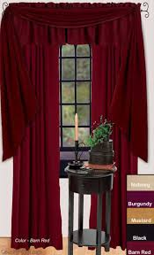 Fishtail Swags Valances Farm House Solid Barn Red Fishtail Window Curtain Swag