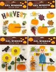 fall autumn harvest window gel clings decorations