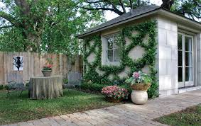Garage French Doors - backyard fence ideas garage and shed traditional with espalier
