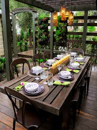 outdoor dining table decorating video and photos
