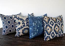 Cushion Covers For Sofa Pillows by Throw Pillow Covers Set Of Four Blue Gray Beige Ikat Batik Cushion