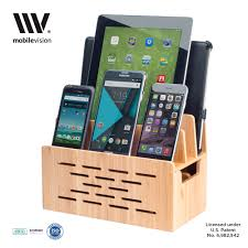bamboo charging station w cutout for bluetooth portable wireless