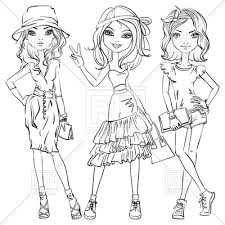 cute fashion girls in t shirt shorts and dresses sketch vector