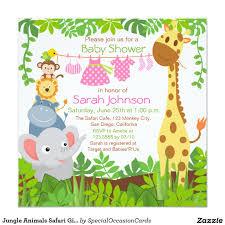 Baby Boy Monkey Theme Jungle Animals Safari Baby Shower Invitation Shower