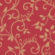 fine decor live love laugh scroll wallpaper red gold fd40284