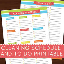printable evening schedule cleaning schedule to do list rainbow printable insert for