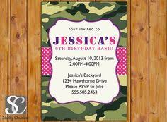 printable hunting birthday invitation for pink camo by khudd