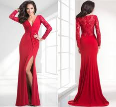 red long sleeve spandex prom dresses beautiful side slit v