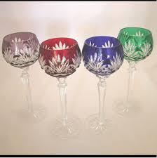 Crystal Gifts Stemware Vases Rare Colors European 4 Vintage Ajka Caroline Crystal Cut To Clear Hock Wine Goblets