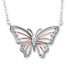 butterfly sterling silver necklace images Jared butterfly necklace 1 10 ct tw diamods sterling silver 10k gold jpg