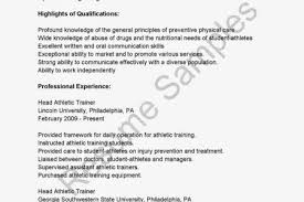athletic trainer resume sample prothesis covers