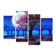 Cherry Blossom Home Decor Canvas Painting Wall Art Home Decor Frame 4 Pieces Peach Blossom
