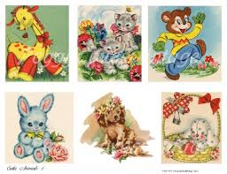 cutie animals 1 a digital collage from vintage greeting cards