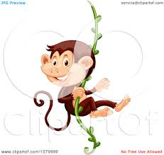 clipart of a happy monkey swinging on a vine royalty free vector