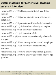Resume For Teaching Assistant Top 8 Higher Level Teaching Assistant Resume Samples