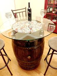 table made from a wine barrel i think i would like wine corks