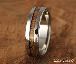 koa wedding bands 6mm titanium koa wood wedding ring makani hawaii hawaiian