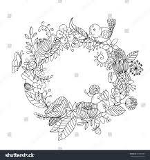 wreath leaves flowers stock vector 675995389 shutterstock