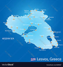 Map Of Greece Islands by Island Of Lesvos In Greece Map Royalty Free Vector Image
