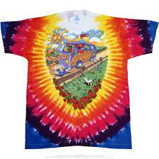 grateful dead summer tour bus tie dye t shirt tee liquid blue