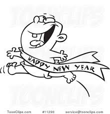 baby new year sash line design of an excited baby running with a happy