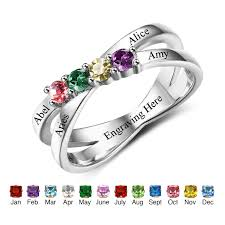 family birthstone rings personalized jewelry birthstone rings engrave names custom 925