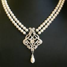 vintage wedding necklace images Vintage wedding necklace art deco bridal necklace pearl wedding jpg