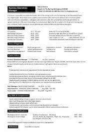 operations manager resume business operations manager resume exles cv templates sles