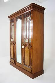 Victorian Armoire Wardrobe Victorian Walnut 3 Door Wardrobe Cupboard Armoire With Mirror At