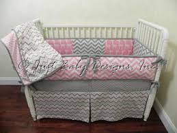 Pink And Gray Crib Bedding Baby Bedding Crib Set Hailey Pink And Gray Chevron Just Baby