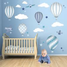 hot air balloon wall decals featuring planes white clouds and hot air balloon wall decals featuring planes white clouds and stars baby boys wall stickers